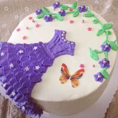 芭比礼服蛋糕平面裱花
