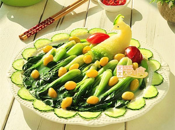 白果烩油菜的做法