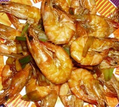 葱香油焖虾
