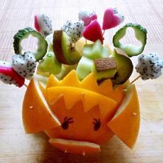 呆萌小猪水果船的做法