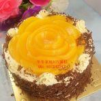 黄桃玫瑰蛋糕