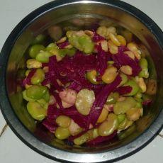 火龙果皮拌蚕豆的做法