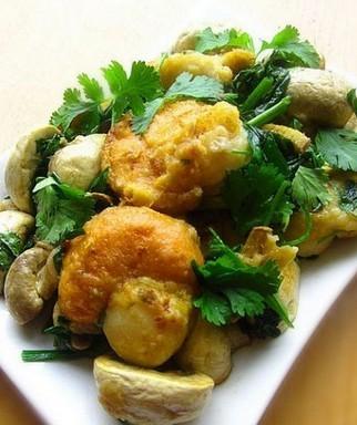 姜葱扇贝蘑菇的做法