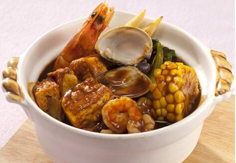 咖哩海鲜豆腐煲