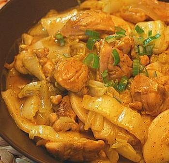 咖喱白菜鸡腿肉炒年糕