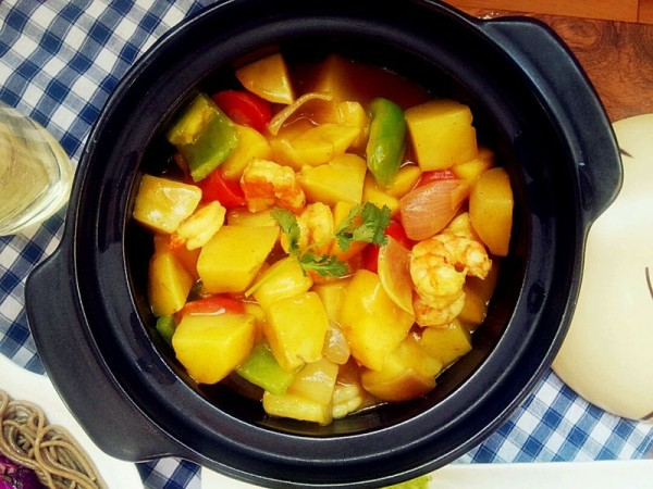 咖喱苹果虾拌面