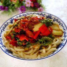 毛白菜拌面的做法
