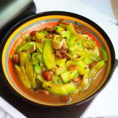 南瓜炒卤花生的做法
