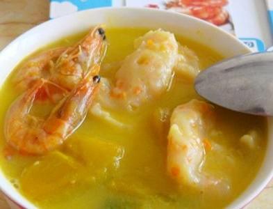 南瓜面虾汤