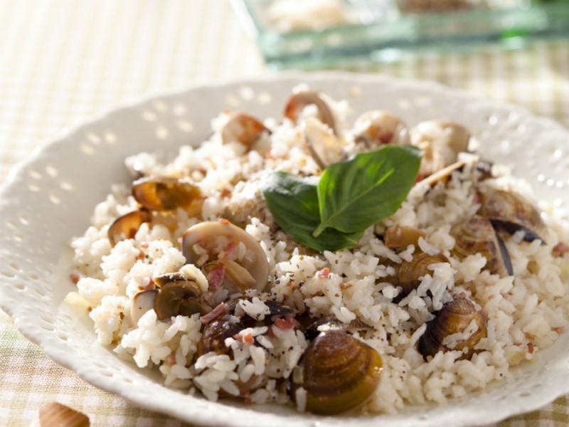 培根蛤蜊炖饭的做法