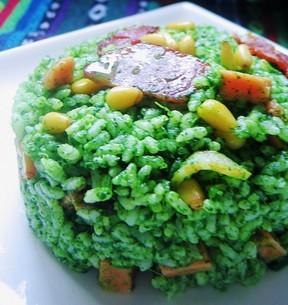 培根松仁菠菜饭的做法