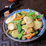 青椒炒豆饼