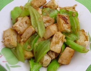青椒煎豆腐