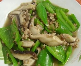肉末香菇炒青椒