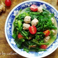 肉丸子煮小白菜