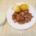 烧汁猪扒,蘑菇汤,意大利面土豆泥套餐