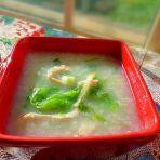 生菜鸡丝粥