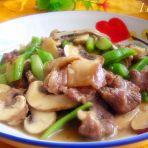 双孢菇炒肉片