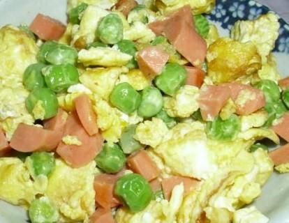 豌豆火腿炒蛋的做法