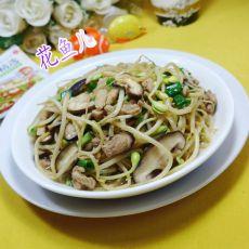香葱香菇五花肉炒黄豆