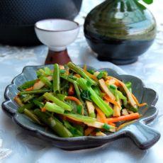香干胡萝卜丝炒空心菜