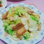 咸肉炒包菜
