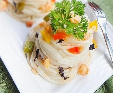虾仁紫菜拌面