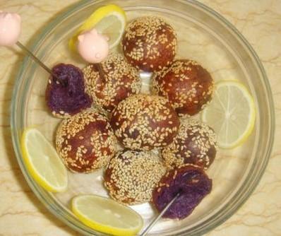 紫薯麻球的做法