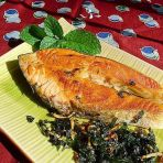 紫苏煎三文鱼的做法