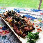紫苏香煎三文鱼骨
