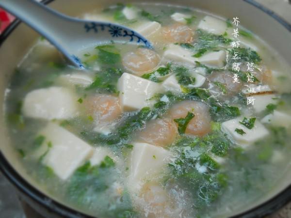 荠菜虾仁豆腐羹
